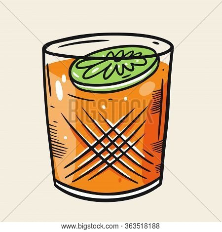Lime And Orange Cocktail. Cartoon Flat Vector Illustration. Isolated On Soft Yellow Background.