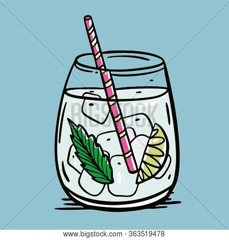 Gin And Tonic Cocktail. Summer Drink. Cartoon Flat Vector Illustration. Isolated On Blue Background.