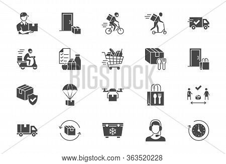Food Delivery Flat Icons. Vector Illustration Included Icon As Coutier On Bike, Door Contactless Del