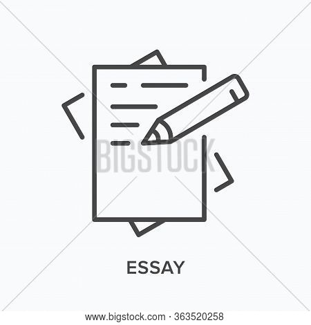 Essay Line Icon. Vector Outline Illustration Of Paper And Pen. Paperwork Pictorgam