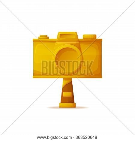 Gold Camera Prize Vector, Award For Best Photographers Challenge. Professional Photo Nomination, Obj