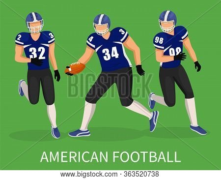 Footballers Playing In American Football On Field With Green Grass. Training Or Competition Of Team.