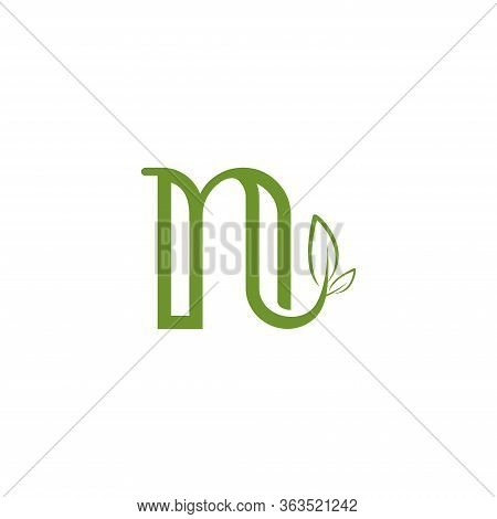 Letter N With Leaf Concepts, N Logo Template, Letter N Icon Nature Logo Template