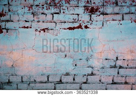 Empty Old Brick Wall Texture. Painted Distressed Wall Surface. Grungy Wide Brickwall. Grunge Red Sto