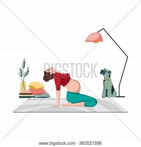 Pregnant Female In Sportswear While Doing Yoga In Cozy Calm Room At Modern Home. Yoga For Pregnant.