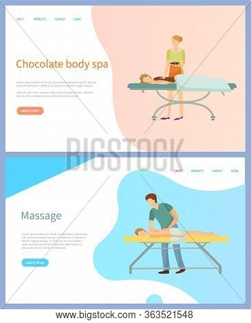 Chocolate Body Spa And Massage Vector, Beauty Procedure. Woman And Man On Table And Masseur Or Beaut
