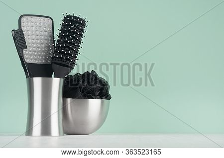 Style Black Accessories For Skin Cleansing - Bath Sponge, Pumice, Comb, Toothbrush In Silver Bowls O