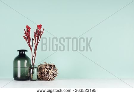 Elegant Fresh Home Decor With Red Bizarre Branch In Black Glass Vases, Decorative Natural Brown Shea