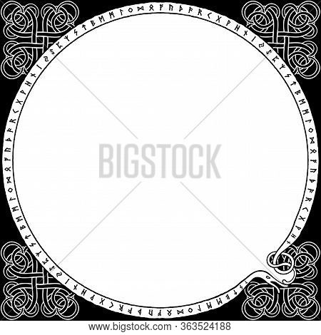 Futhark Frame In Nordic Style With A Round Space In The Middle