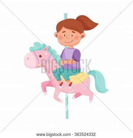 Little Girl Having Fairground Ride And Smiling Vector Illustration