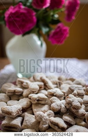 Vanilice, Serbian Bite-sized Small Vanilla Cookies Made As Sandwich Of Two Vanilla And Walnut Cookie