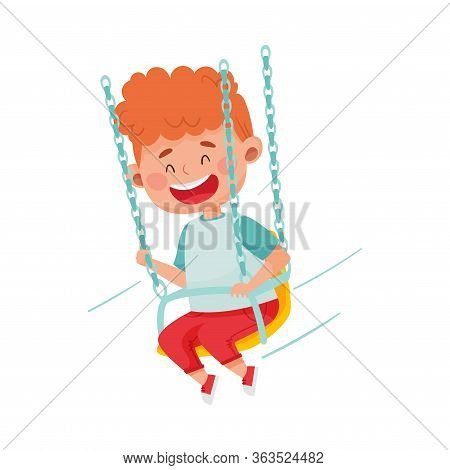 Red Haired Boy Having Fairground Ride And Laughing Vector Illustration