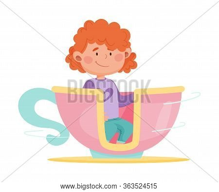 Cute Girl Having Fairground Ride In Large Cup Vector Illustration