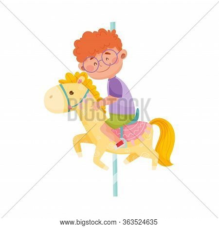 Little Boy With Red Hair Riding Horse Or Having Fairground Ride Vector Illustration
