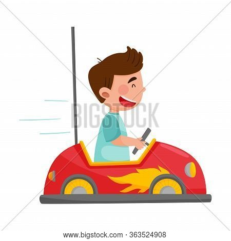 Cheerful Boy Driving Toy Car Or Having Fairground Ride Vector Illustration