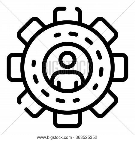 Gear Ad Specialist Icon. Outline Gear Ad Specialist Vector Icon For Web Design Isolated On White Bac