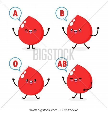 Happy Cute Healthy Blood Drop Character, Blood Type Group, Set Of Cute Blood Types In Different Acti