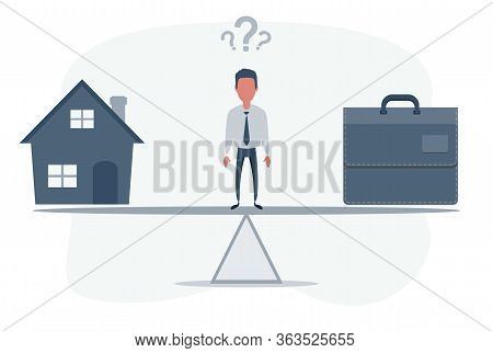 Home And Business On Scales Icon. Weight Between Work, Money And Family. Balance Life Business Conce