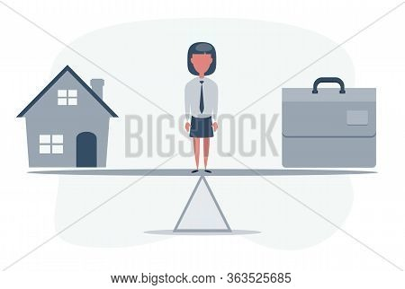 Work Life Balance. Home And Business Scales Icon. Weight Between Work, Money And Your Family. Career
