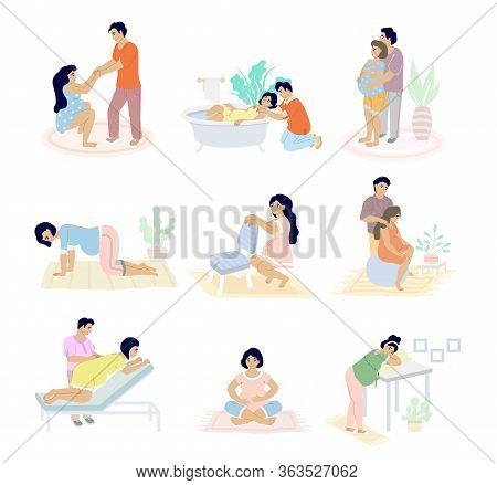 Birth Positions Set, Vector Flat Isolated Illustration