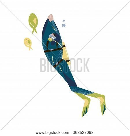 Scuba Diver Swimming Underwater And Diving With Fishes In Deep-sea Or Ocean. Vector Illustration In