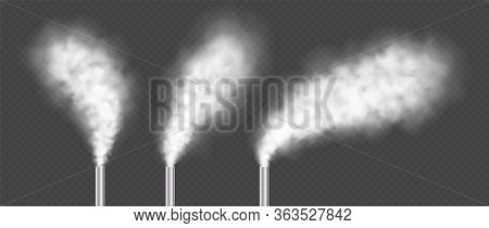 Chimneys With White Smoke, Industrial Factory Pipes Collection. Urban Power Plant Flues With Steams.