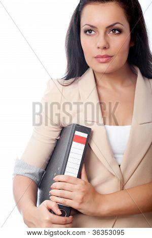 beautiful woman holding file