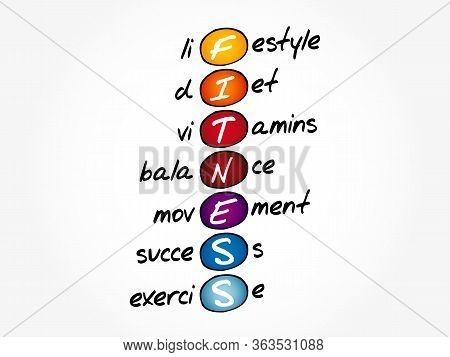 Fitness - Lifestyle Diet Vitamins Balance Movement Success Exercise Acronym, Health Concept Backgrou