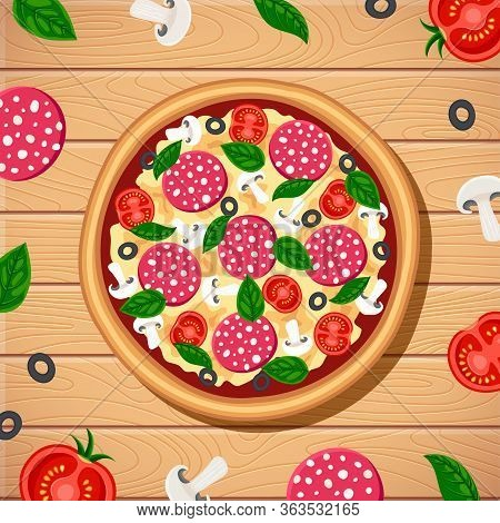 Tasty Pizza With Ingredients Around Top View On Wooden Table Background. Flat Traditional Italian Fa
