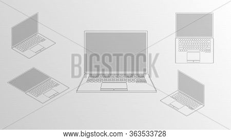 Vector Illustration Of An Isometric Conceptual Laptop Drawn From Multiple Perspectives. Drawing Uses