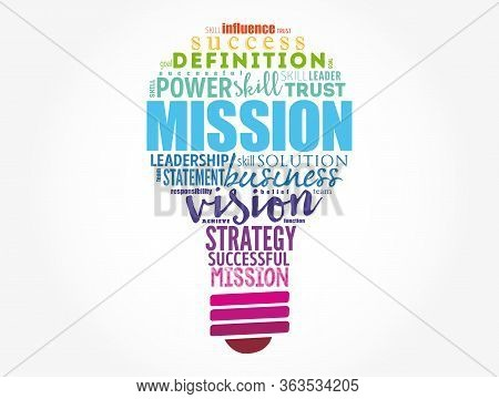 Mission Light Bulb Word Cloud Collage, Business Concept Background
