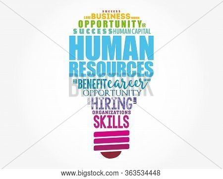 Hr - Human Resources Light Bulb Word Cloud Collage, Business Concept Background