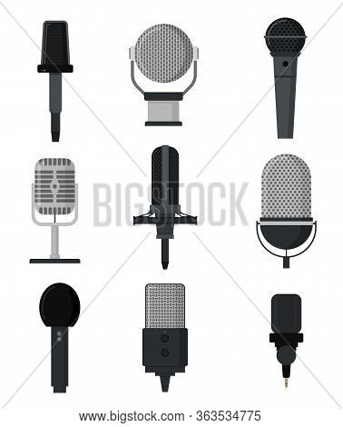 Cartoon Color Microphones Sign Icon Set Concept Flat Design Style. Vector Illustration Of Mic Icons