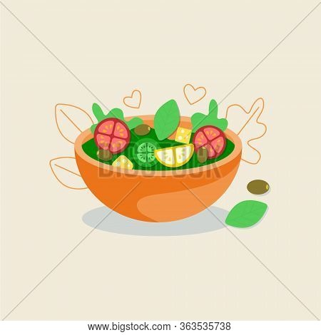 Vitamin Salad In Deep Bowl. Fresh Green Salad Leaves, Tomato, Olives And Cucumber Slices. Fresh And