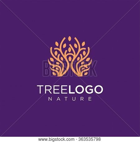 Fashion Tree Logo Jewelry Logo Vector Stock, Simple Tree Logo Line Vector Icon Illustration, Luxury