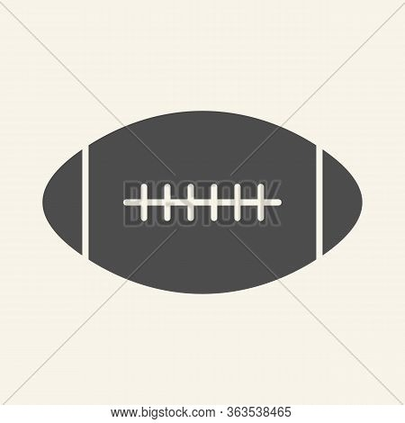 Rugby Ball Solid Icon. American Football Game Glyph Style Pictogram On Beige Background. Rugby Sign