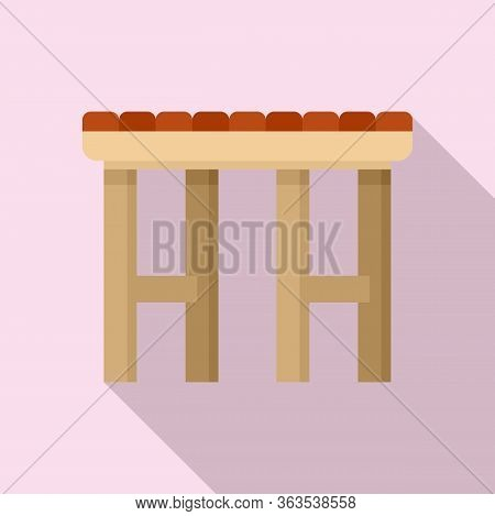 Garden Backless Chair Icon. Flat Illustration Of Garden Backless Chair Vector Icon For Web Design