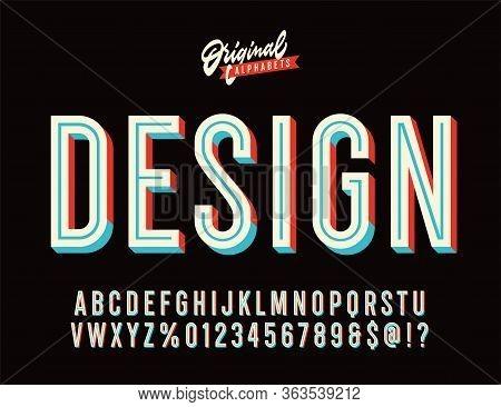 Design. Vintage 3d Inline Condensed Alphabet. Old School Retro Typography.