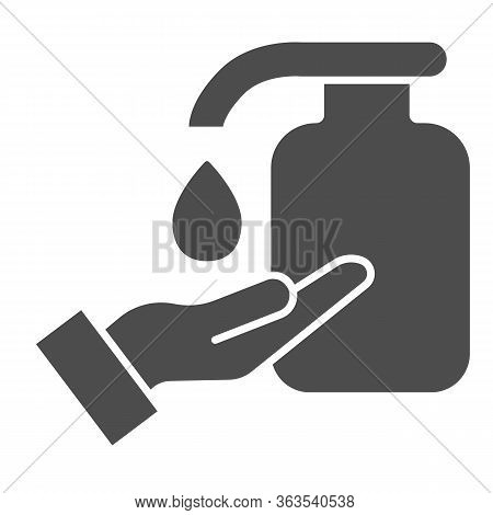 Hand And Liquid Soap Solid Icon. Cleaning Hands Using Antibacterial Gel Symbol, Glyph Style Pictogra