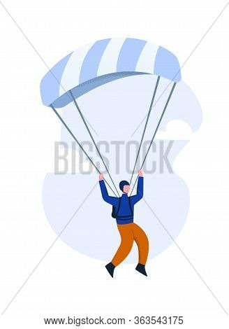 Paraglider Flying On A Gliding Parachute. The