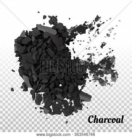 Coal On A Transparent Background Isolated. A Handful, A Heap Of Coal, Coal Powder. Vector Illustrati