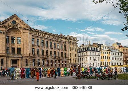 Riga, Latvia - July 12, 2018:colorful Bears On Dome Square International Art Exhibition United Buddy