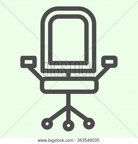 Office Chair Line Icon. Armchair With Wheels Of Comfortable Business Furniture Outline Style Pictogr