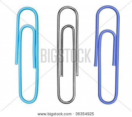 A collection of three paperclips, including a traditional silver clip, isolated on a white background.