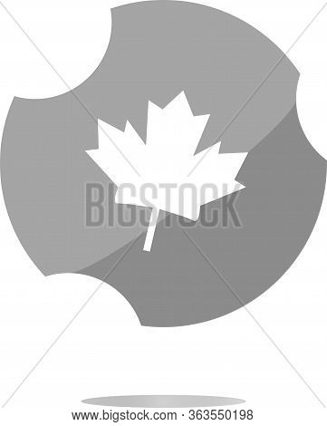 Mapple Leaf Icon Glassy Web Button . Flat Sign Isolated On White Background