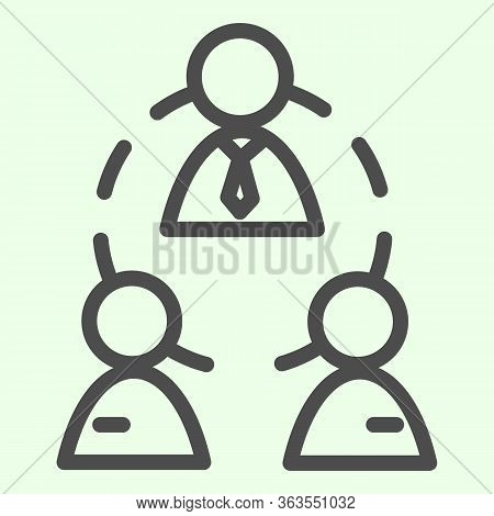 Business Team Line Icon. Office Workgroup With Employees And Boss Connections Outline Style Pictogra