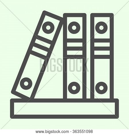 Office Folders Line Icon. Row Of Binders Outline Style Pictogram On White Background. Three Business