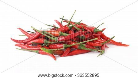 Group Of Fresh Red Chilli On White