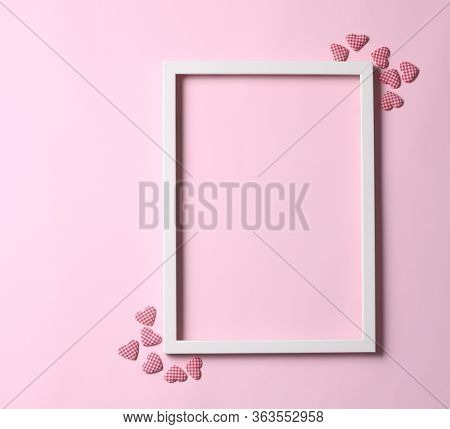 Valentine's Day Background - Frame On Pastel Pink Background