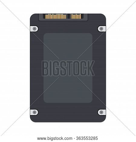 Ssd Back View. Solid State Drive Icon. Simple Flat Vector Illustration Isolated On White Background